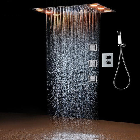 "Rain / Bodymassage Shower Set System 14"" x 20"" with 3 Bodyjets and LED - Antea Antea FLUXURIE.COM"