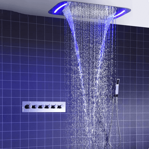 Rain Mist Spray Waterfall Spa Massage Shower System - <i>Stella</i> Rain Mist Spray Waterfall Spa Massage Shower System With Electric High Flow Thermostatic Diverter FLUXURIE.COM