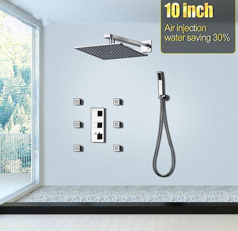 Rain Shower Set System 10 inch with 6 Body Jets and Air Injection - Altea Altea FLUXURIE.COM