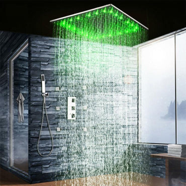 Rain Shower Set System 20 inch with 6 Body Jets and Temperature Controlled LED - Dalida Dalida FLUXURIE.COM
