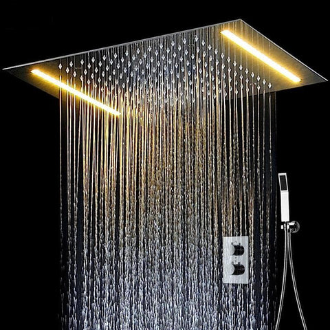 "Rain Shower Set System 20"" x 14"" with LED and Thermostatic Smart Mixer - FLORA Flora FLUXURIE.COM"
