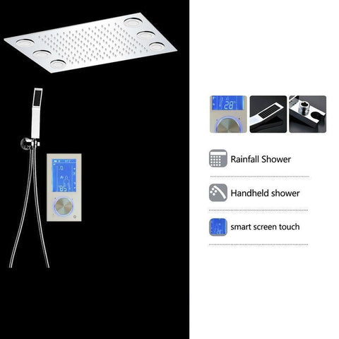"Rain Shower Set System 20"" x 14"" with Touch Panel Smart Mixer and Remote Controlled LED - VAVALA Vavala FLUXURIE.COM"