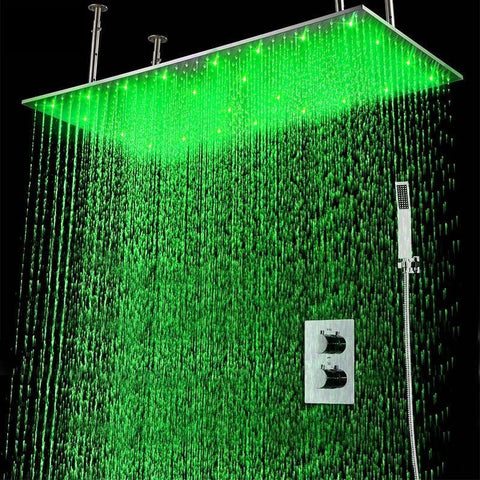 "Rain Shower Set System 20"" X 40"" with Temperature Controlled LED - IOVINA Iovina FLUXURIE.COM"