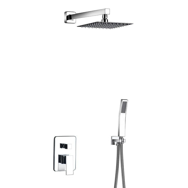 "Rain Shower Set System 8"" - 12"" in Chrome with Thermostatic Smart Mixer - CARA Cara FLUXURIE.COM"