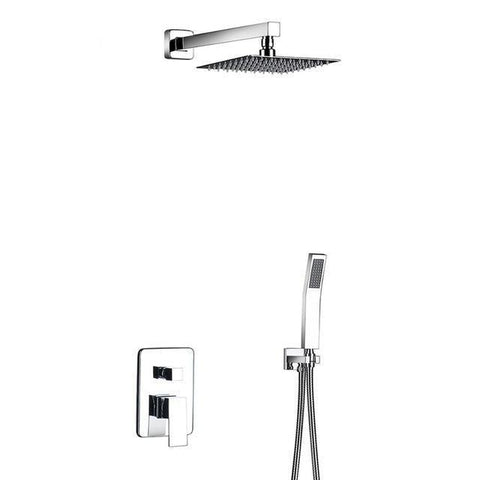 "Rain Shower Set System 8"" - 12"" in Chrome with Thermostatic Smart Mixer - CARA Cara FLUXURIE.COM Stainless Steel 10"""