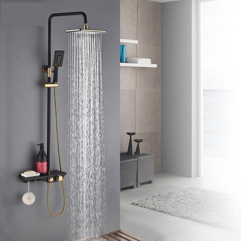 Rain Shower Set System in Black / Gold with Thermostatic Smart Mixer - NERORA Nerora FLUXURIE.COM
