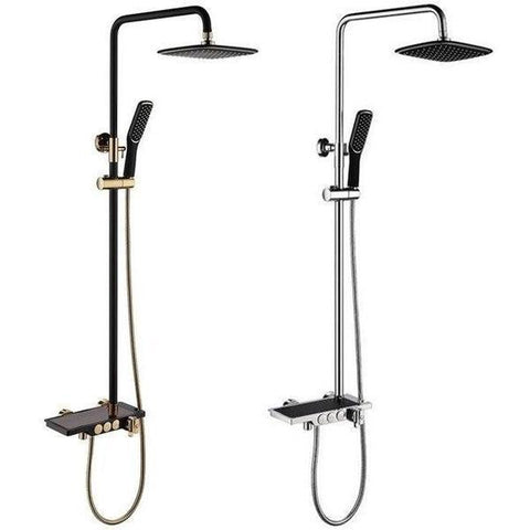 Rain Shower System Set in Black/Chrome or Black/Gold - AURORA Aurora FLUXURIE.COM