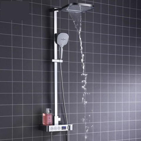 Rain / Waterfall 10 inch Shower System with Smart Thermostat - Olinda Rain / Waterfall 10 inch Shower System with Smart Thermostat - Olinda FLUXURIE.COM