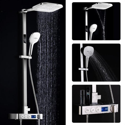 Rain / Waterfall 8 X 10 inch Shower Set System with Digital Display Mixer - Triano FLUXURIE.COM