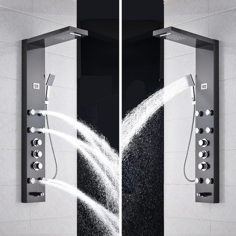 RAIN / WATERFALL SHOWER PANEL WITH BODY SPRAYS AND THERMOSTATiC MIXER - ELENA Elena FLUXURIE.COM