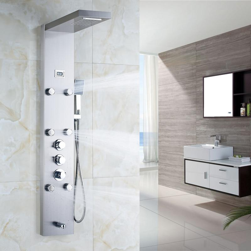 RAIN / WATERFALL SHOWER PANEL WITH BODY SPRAYS AND THERMOSTATiC MIXER - ELENA Elena FLUXURIE.COM Brushed Nickel
