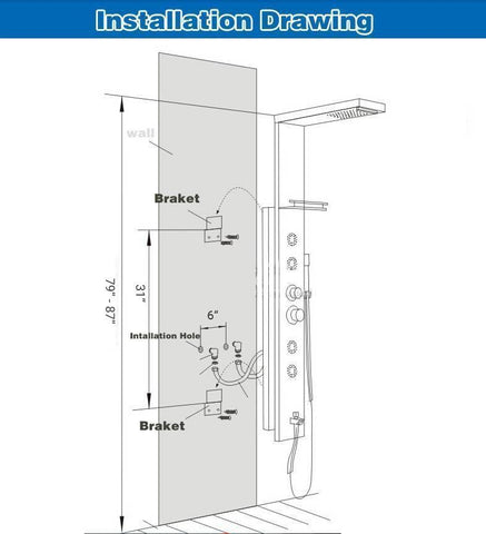 Rain / Waterfall Shower Panel with Body Sprays - BELINDA Belinda Rozin