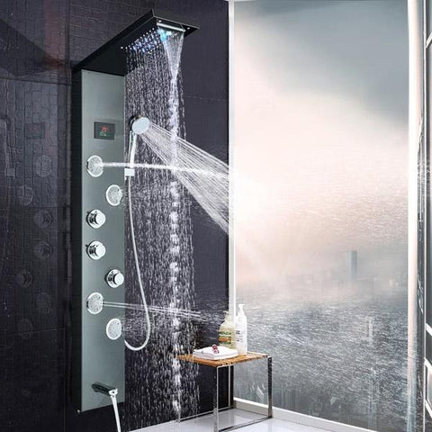 Rain / Waterfall Shower Panel with Body Sprays - BELINDA Belinda FLUXURIE Brushed nickel panel