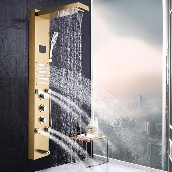 Rain / Waterfall Shower Panel with Body Sprays in gold - SAHARINA SAHARINA FLUXURIE.COM