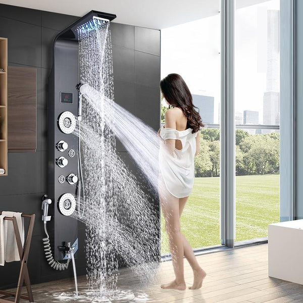 Rain / Waterfall Shower Panel with Body Sprays LED and Temperature display - LOREDANA Loredana FLUXURIE.COM