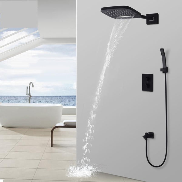 "Rain / Waterfall Shower Set System 10"" x 8"" in Black with Thermostatic Smart Mixer - SITA Sita FLUXURIE.COM"