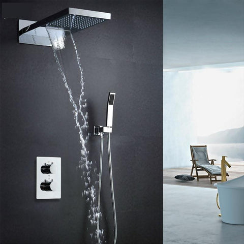 Rain / Waterfall Shower Set System 22 inch with Temperature Controlled LED - Nevia Nevia FLUXURIE.COM