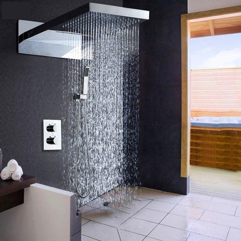 Rain / Waterfall Shower Set System 22 inch with Thermostatic Smart Mixer - AMBRA Ambra FLUXURIE.COM