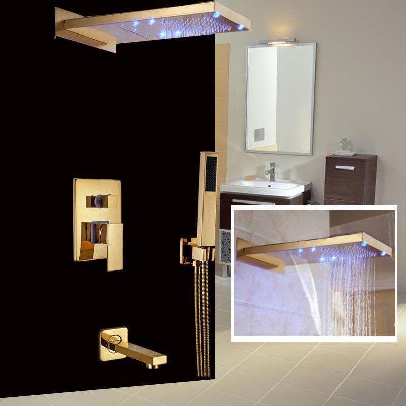 "Rain / Waterfall Shower Set System 22"" x 9"" with Temperature Controlled LED - ARMIDA Armida FLUXURIE.COM"