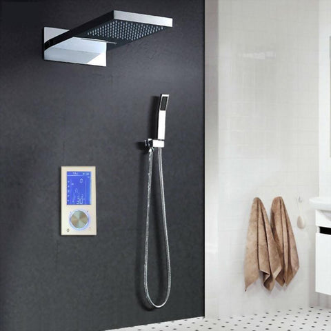"Rain / Waterfall Shower Set System 9"" x 22"" with Touch Panel Smart Mixer - LIA Lia FLUXURIE.COM"
