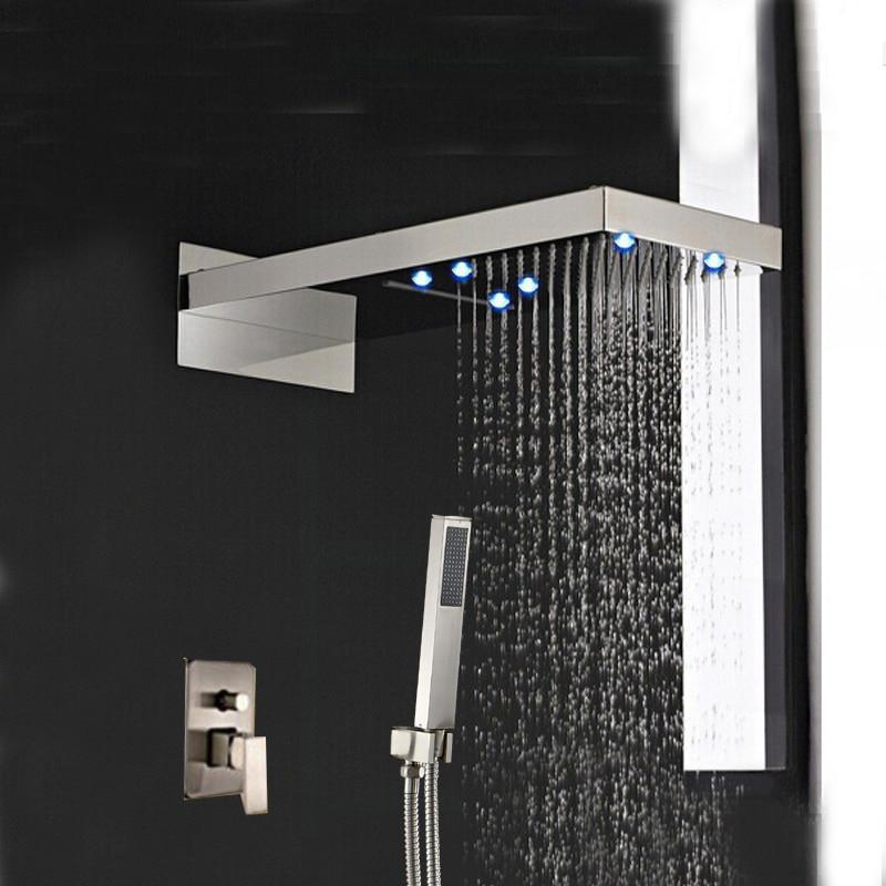 "Rain / Waterfall Shower Set System Brushed Nickle 22"" x 9"" with LED - RUSTICA RUSTICA fmhjfisd"