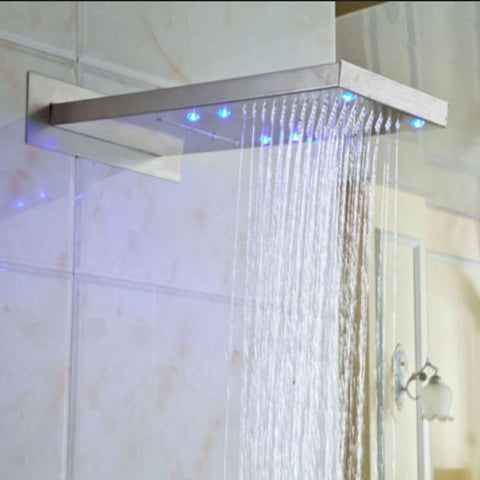 "Rain / Waterfall Shower Set System Brushed Nickle 22"" x 9"" with LED - RUSTICA"