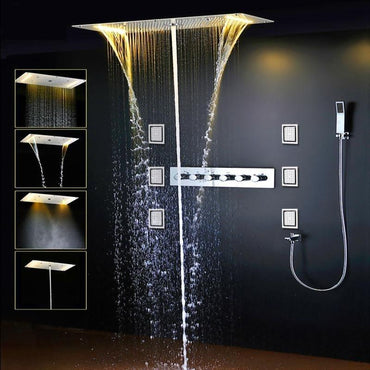 "Rain / Waterfall / SPA Mist / Water Coloum 28"" x 15"" Shower Set System with 6 Body Jets - GLIDA Glida FLUXURIE.COM"