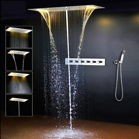 "Rain / Waterfall / SPA Mist / Watercolumn Shower Set System 28"" x 15"" with LED - Carvella Carvella FLUXURIE.COM"