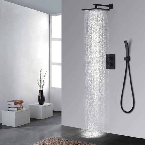 Rainfall 10 Inch Wallmount Black Shower System With Thermostatic Mixer - Serina Black rainfall shower system 10 Inch wallmount with thermostatic mixer FLUXURIE.COM