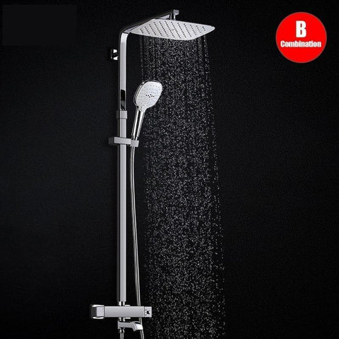 Rainfall 10 x 8 inch Shower Set System with Thermostatic Mixer - <i>Telica S</i> Rainfall 10 x 8 inch Shower Set System with Thermostatic Mixer - <i>Telica S</i> FLUXURIE.COM Default Title