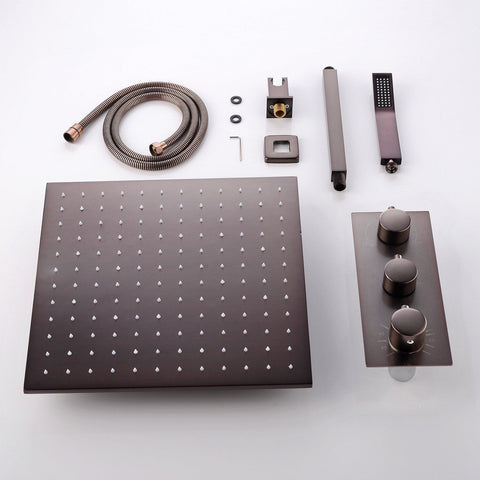 Rainfall 16 inch LED Wall Mounted Black Shower System - Lupica Black Rainfall 16 inch LED Wall Mounted Shower Set FLUXURIE.COM