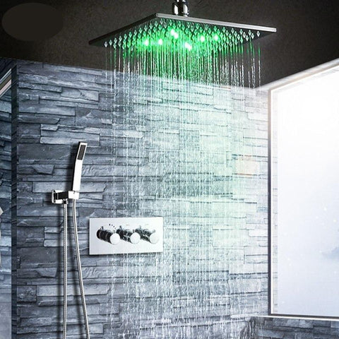 Rainfall LED shower system 10 inch with Thermostatic mixer - Eutalia Rainfall LED shower system 10 inch with Thermostat FLUXURIE.COM