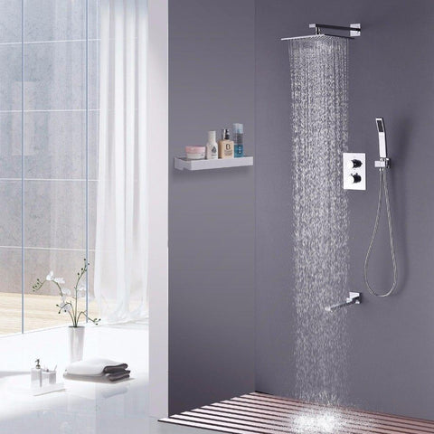 Rainfall Shower Set System 10 inch with Temperature Control Mixer - Lidania Rainfall Shower Set System 10 inch with Temperature Control Mixer - Lidania FLUXURIE.COM