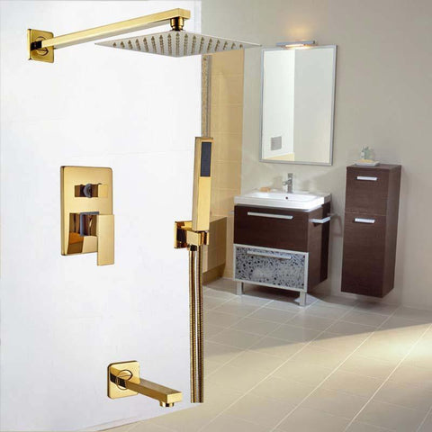 Rainfall Shower Set System 8 inch in Gold - LUXURA Luxura FLUXURIE.COM