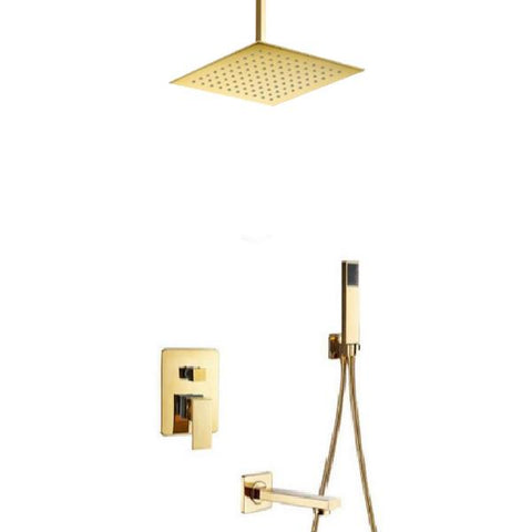 Rainfall Shower Set System 8 inch in Gold - LUXURA Luxura FLUXURIE.COM Ceiling mount with tub spout