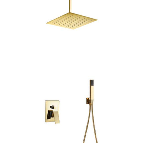 Rainfall Shower Set System 8 inch in Gold - LUXURA Luxura FLUXURIE.COM Ceiling mount without tub spout