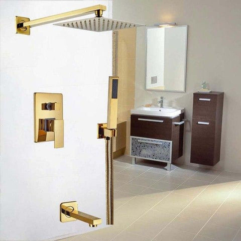 Rainfall Shower Set System 8 inch in Gold - LUXURA Luxura FLUXURIE.COM Default Title