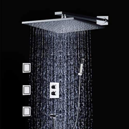 Rainfall shower system set 10 inch with air injection technology and 3 body jets - Scaletta Rainfall shower system set 10 inch with air injection technology and 3 body jets - Scaletta FLUXURIE.COM