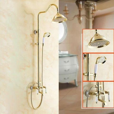 Rainfall Shower with Slide Bar / Wall Mounted / Porcelain & Golden Bronze - BRIANA Briana FLUXURIE.COM