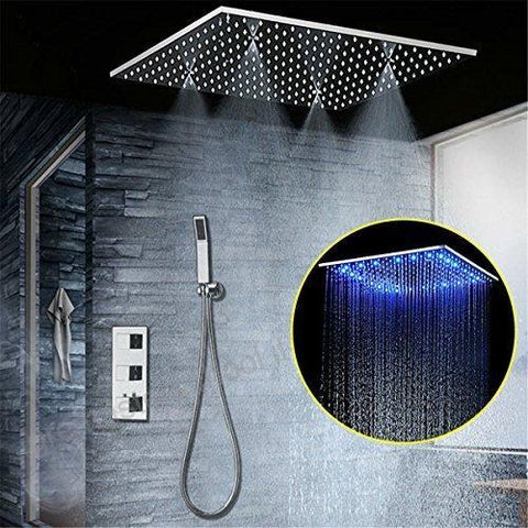 Rainfall / SPA Mist 20 Inch Shower Set System with Temperature Controled LED - Samona Rainfall / SPA Mist 20 Inch Shower Set System with Temperature Controled LED - Samona FLUXURIE.COM