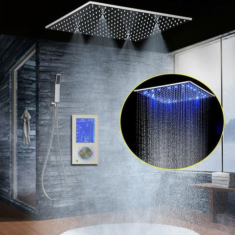 Rainfall / SPA Mist 20 Inch Shower Set System with Touch Panel and LED - Morena Rainfall / SPA Mist 20 Inch Shower Set System with Touch Panel and LED - Morena FLUXURIE.COM