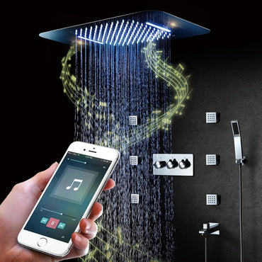 Shower with bluetooth speaker, Phone controllable LED, Rainfall- , Waterfallmode and 6 Bodysprays - APOLLONIA Apollonia FLUXURIE.COM