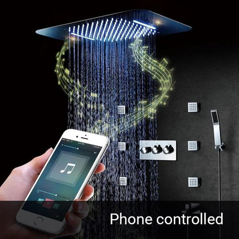 Shower with bluetooth speaker, Phone controllable LED, Rainfall- , Waterfallmode and 6 Bodysprays - APOLLONIA Apollonia FLUXURIE.COM Phone Control