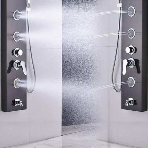Stainless steel rain/ waterfall shower panel with body jets - OLIVIA Olivia FLUXURIE.COM