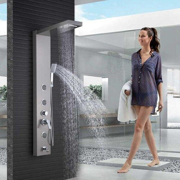 Stainless steel rain/ waterfall shower panel with body jets - OLIVIA Olivia FLUXURIE.COM Brushed Nickel