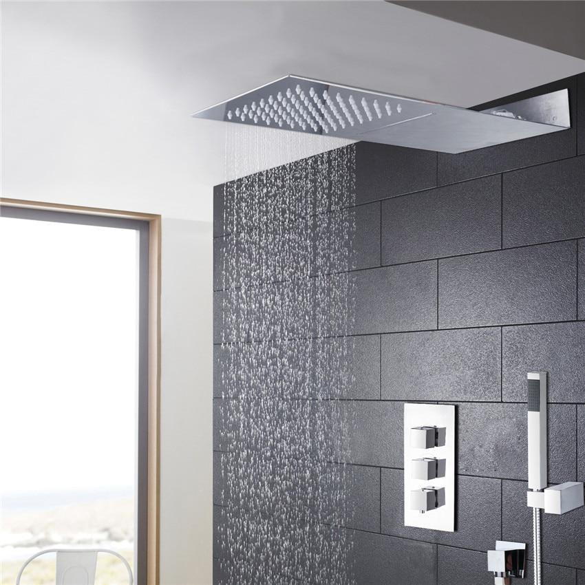 Super thin Rain shower waterfall 3 control walve shower system - Odilia Super thin Rain shower waterfall 3 control walve shower sytem fluxurie.com