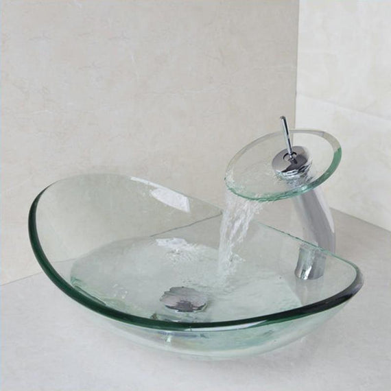 Transparent Glass Oval Bathroom Vessel Sink Set with Faucet - ALEXANDRA Alexandra FLUXURIE.COM