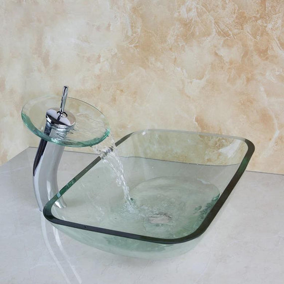 Transparent Glass Rectangular Bathroom Vessel Sink Set With Faucet- DOROTHY Dorothy FLUXURIE.COM