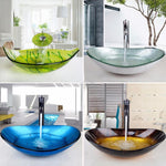 Various Colors and Shapes Glass Bathroom Vessel Sink Set With Faucet- CASSANDRA Cassandra FLUXURIE.COM