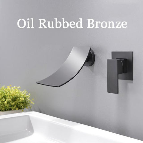 Wall Mounted Waterfall Bathroom Faucet Wall Mounted Waterfall Bathroom Faucet fluxurie.com Black Round Valve